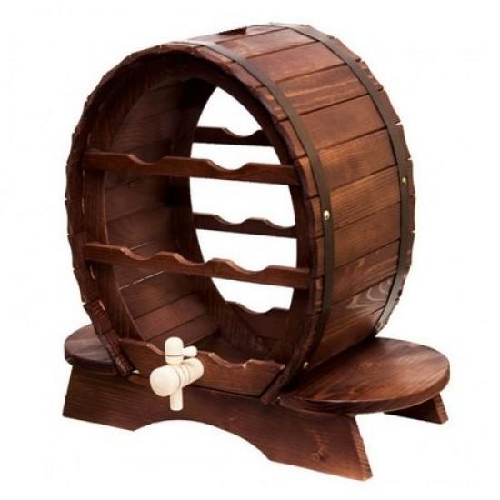 Suport lemn natur , pentru 7 sticle vin , ClauM